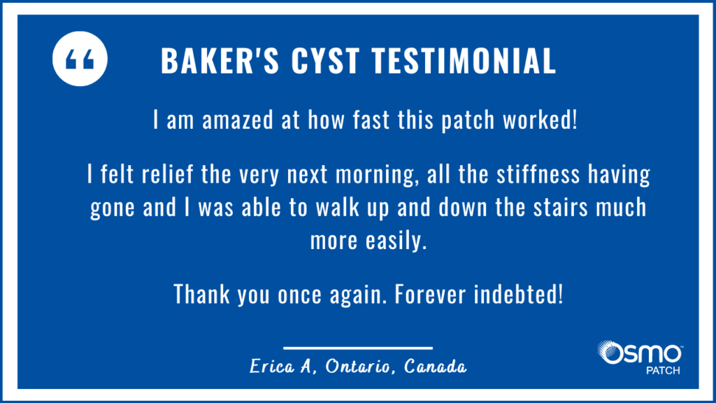 OSMO Patch review for Baker's Cyst treatment.