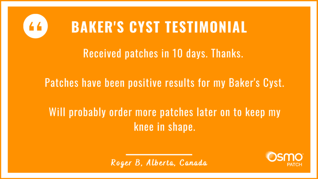 Testimonial: Positive results with the OSMO Patch for Baker's Cyst treatment.
