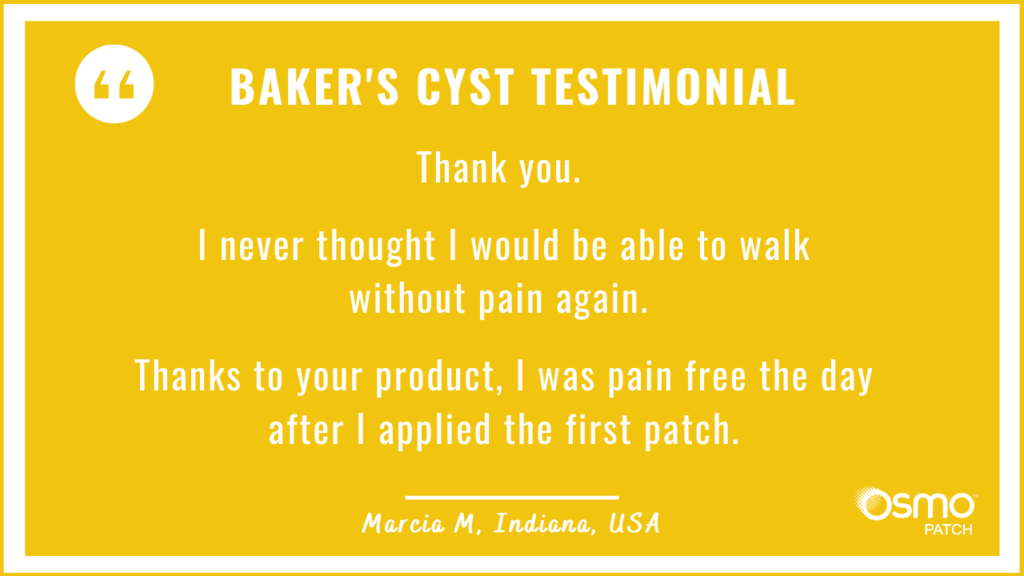 Testimonial: Thought never to walk without pain again. Pain free the day the first OSMO Patch was applied.