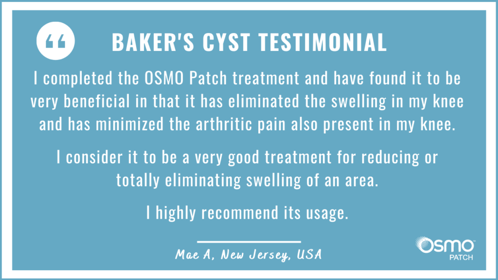 Testimonial: The OSMO Patch eliminated the swelling in the knee and minimized the pain.