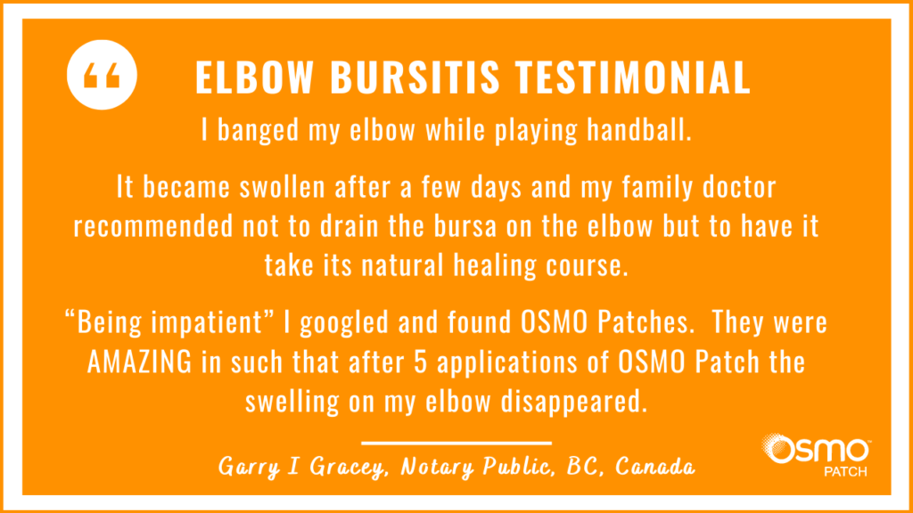 Testimonial: Severe Elbow Bursitis after playing handball. The OSMO Patch helped with recovery and the swelling disappeared in 5 applications.