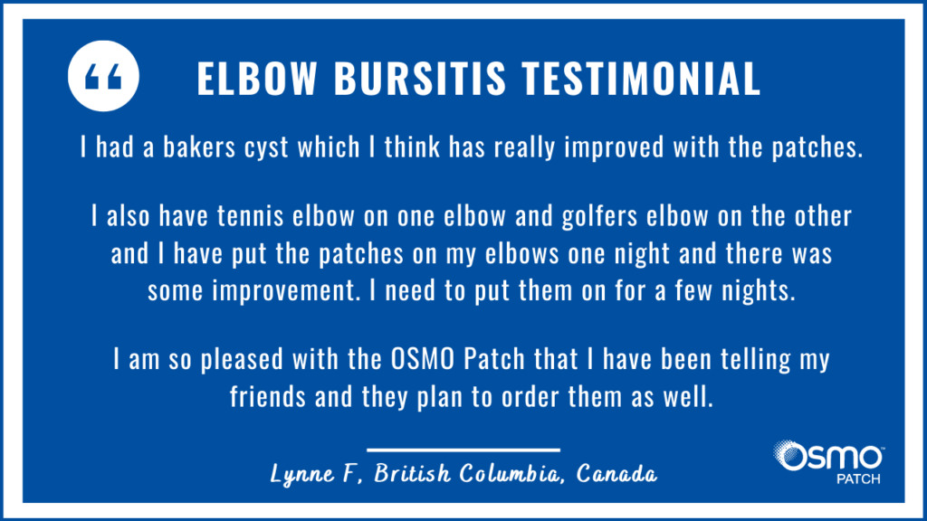 Testimonial: The OSMO Patch improved tennis elbow and golfer's elbow.