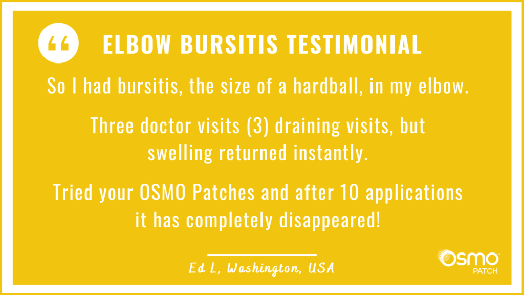 Testimonial: The OSMO Patch helped for Elbow Bursitis where conventional treatment was unsuccessful.