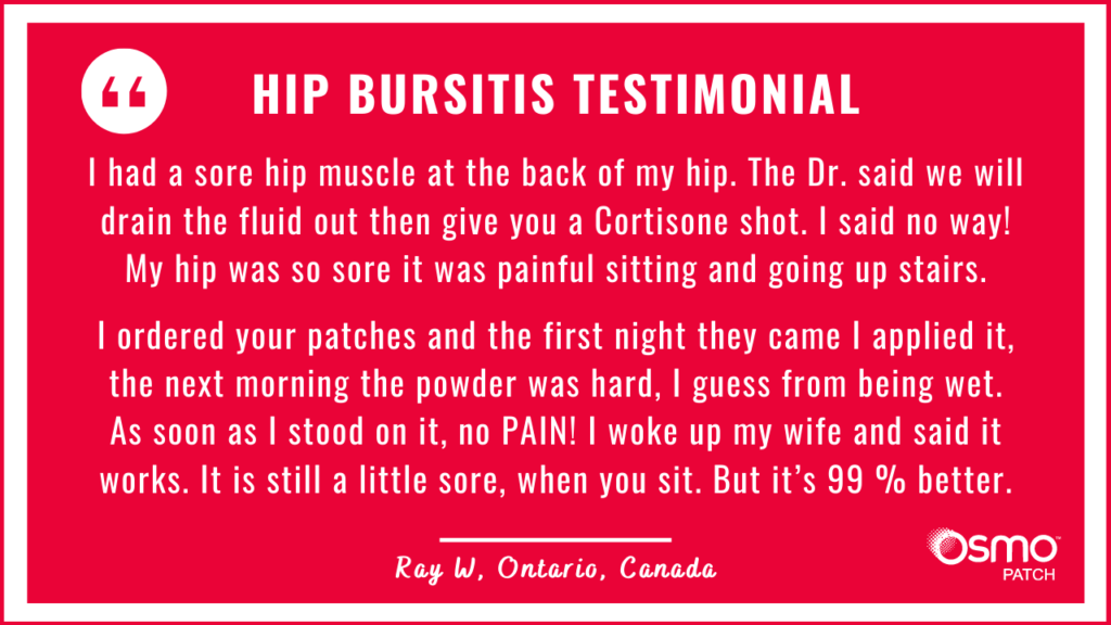 Testimonial: No pain after a single application of OSMO Patch for hip bursitis. It is 99% better.